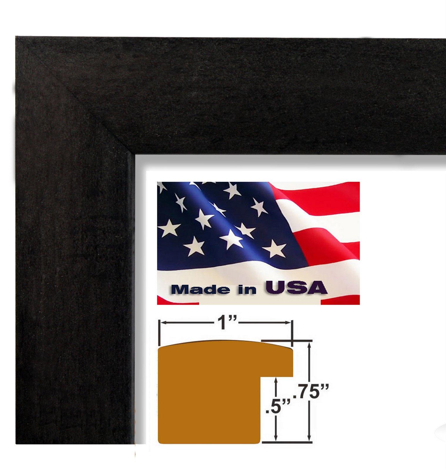 US Art Frames 17x22 Black 1 Inch, Nugget MDF Wood Composite Picture Poster Frame