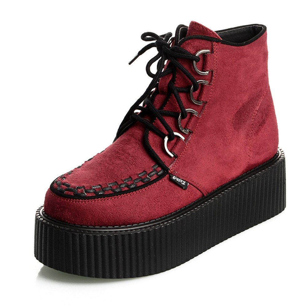 Red pinkG New Lace Up Suede High Top Flats Platform Creepers Boots