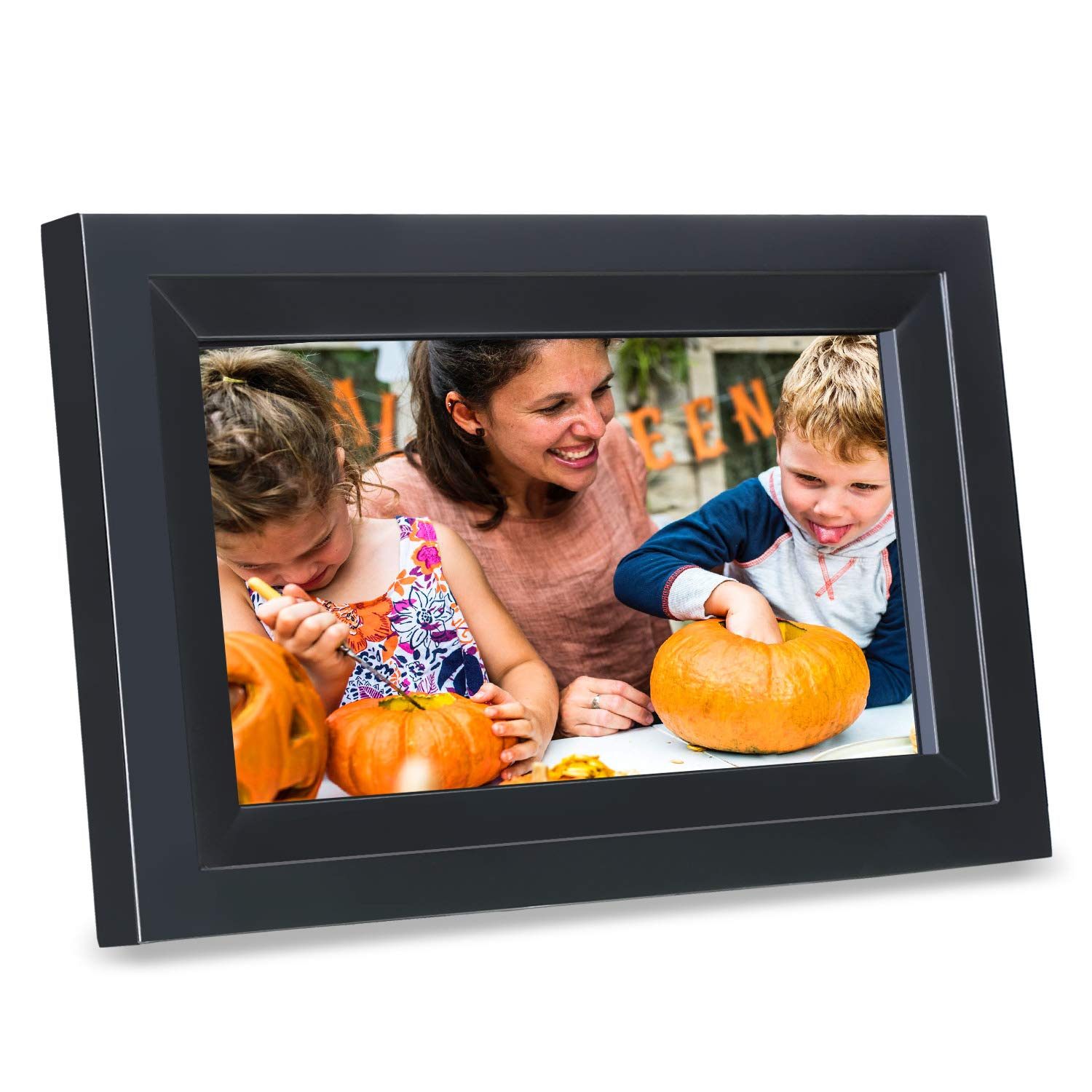 Digital Picture Frame iDeaPLAY 10.1 inch WiFi Touchscreen Photo Frame with 8GB Storage Volume, 1280x800 HD Display, Gift Choice,Support Photo, Music, Calendar, Clock - Black