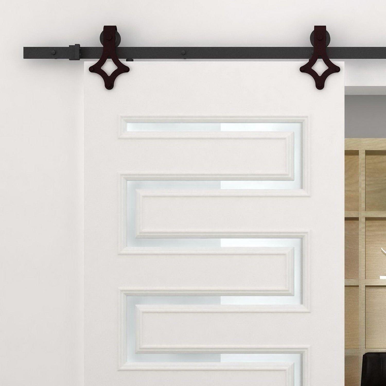 HomCom 6 Modern Interior Sliding Barn Door Hardware Kit Black Carbon Steel Star