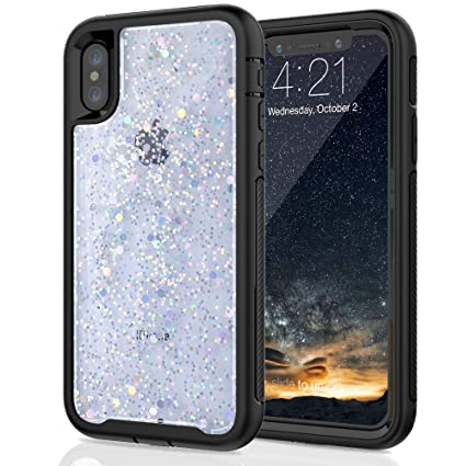 huge discount 80ef5 571b8 SEYMAC Stock for iPhone X/iPhone Xs Girls/Women Case, [Hybrid Drop  Protection] case with Shiny White [in-Material-Decoration Design], Dual  Layer ...