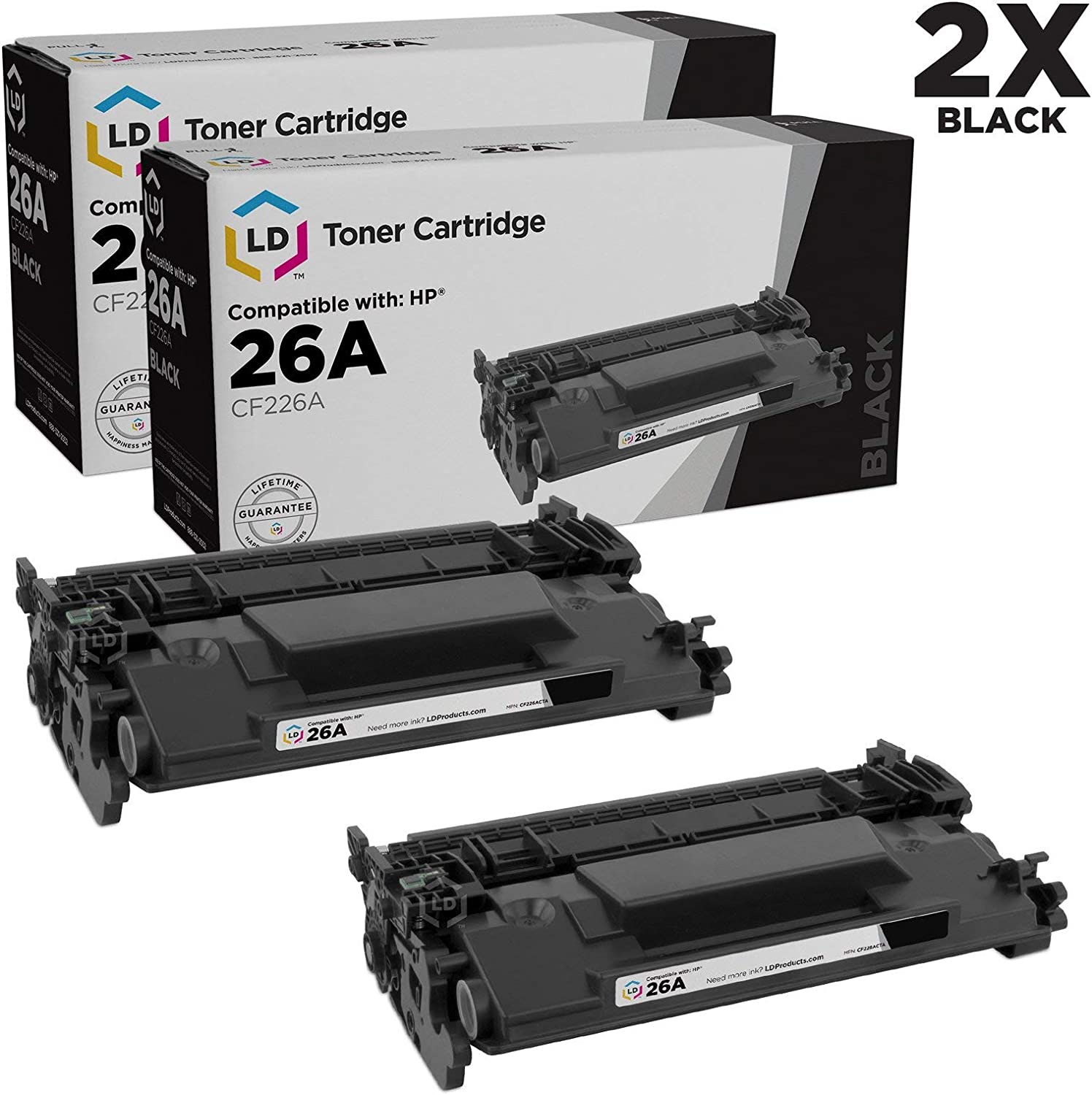 LD Compatible Toner Cartridge Replacement for HP 26A CF226A (Black, 2-Pack)