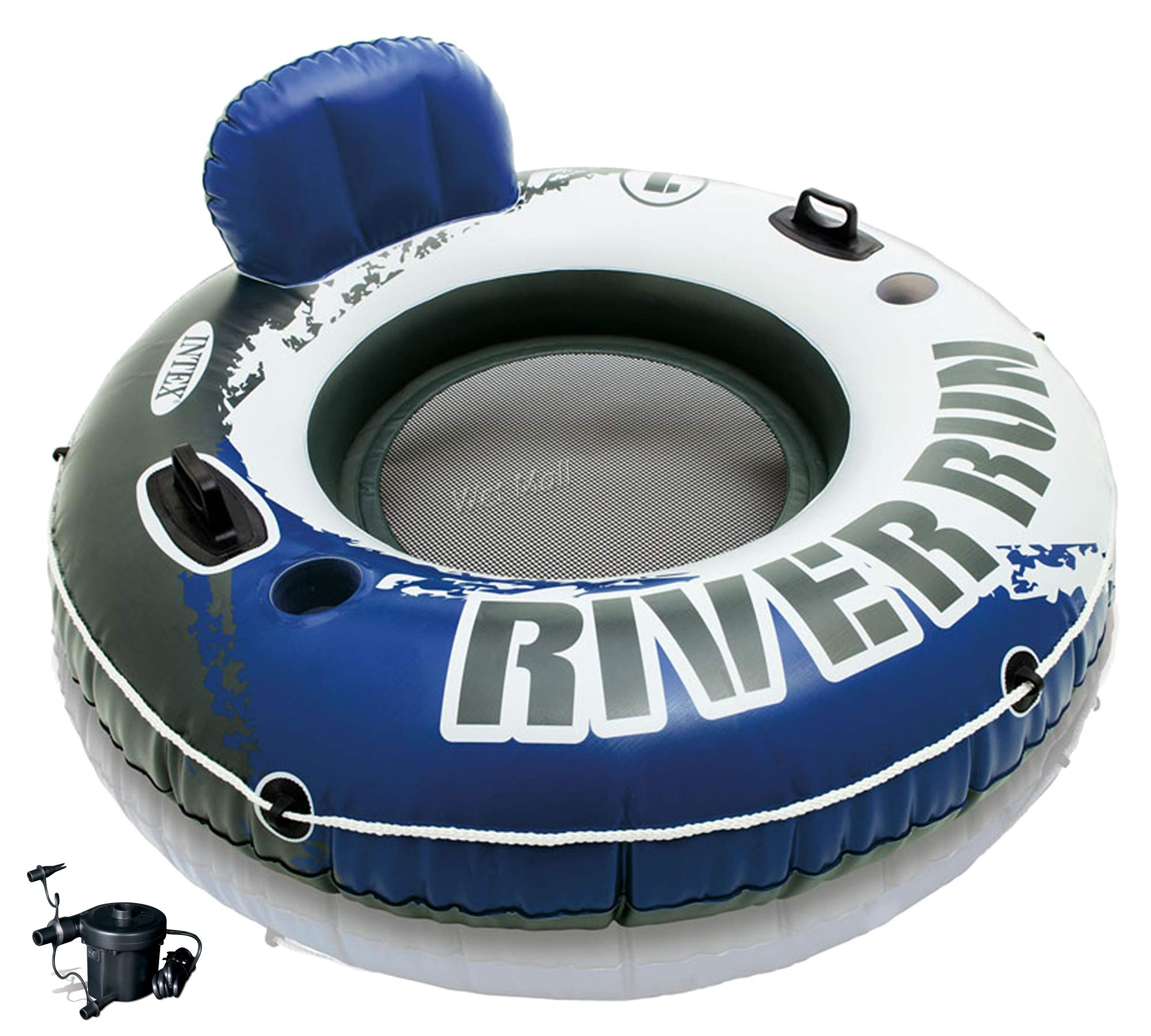 Intex River Run I Inflatable Floating Tube Raft Boat Set & Quick Fill Air Pump by Intex