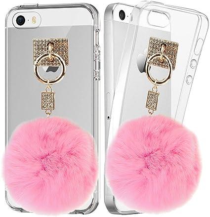 BXT Femme Fille Strass transparente LifeProof téléphone OtterBox Coque avec pendentif boule fourrure pelucheuse pour iPhone 5 iPhone 5S iPhone SE