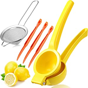 5 Pieces Metal Lemon Squeezer Manual Press Citrus Juicer Fine Mesh Sieve Strainer and Orange Citrus Peelers for Home Kitchen Food Preparation Supplies