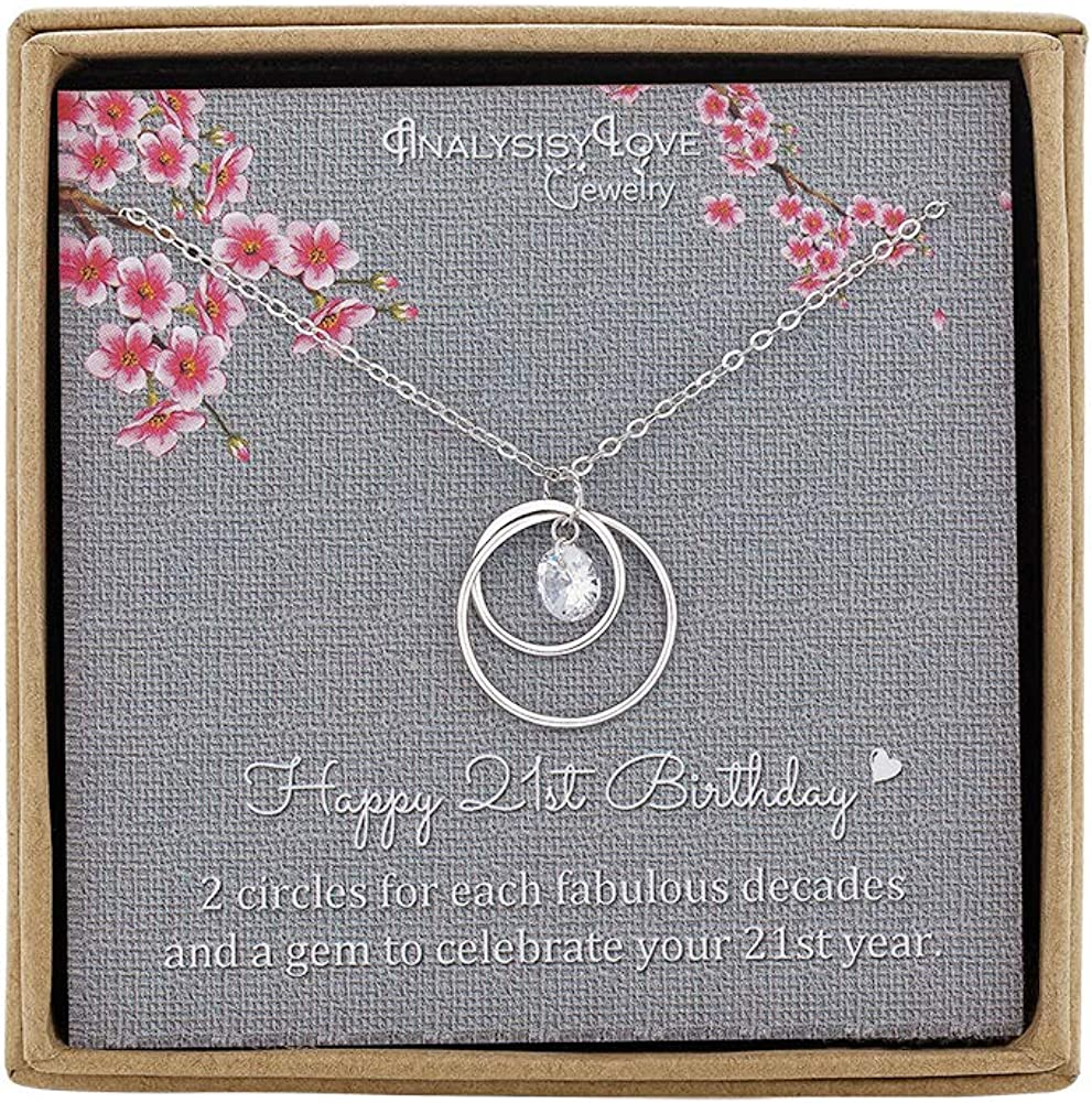 Sterling Silver Infinity 2 Circle Necklace for Daughter Birthday Gift AnalysisyLove 21st Birthday Gifts for Her