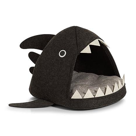 Zeller 14375 cesta de gato Tiburón, fieltro Cesta de gatos, fieltro, antracita,