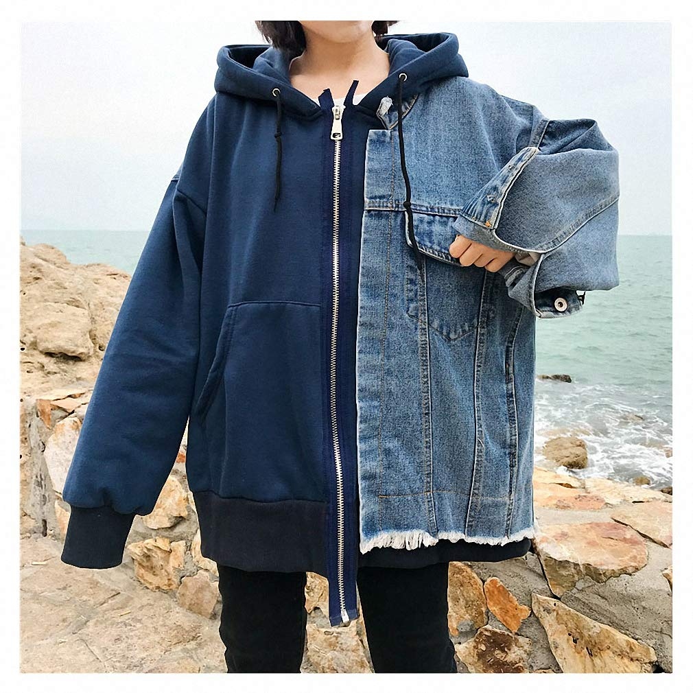 bluee Womens Denim Jacket Patchwork Casual Hit color Hooded Loose Hole Zipper Coat