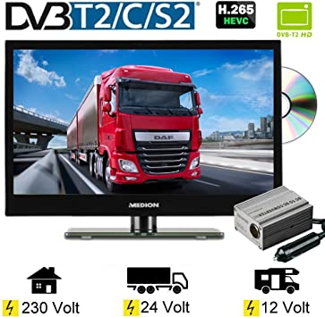 LED TV 15.6 Pulgadas 39,6 cm televisor DVD DVB-C/S2/T/T2 230 V/12 V/24 V: Amazon.es: Electrónica