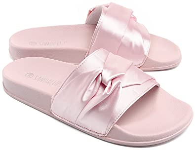 628b056cb8f9 SANDALUP Open Toe Cross Silk Slipper Soft Sole Sandals for Women with Pink  36