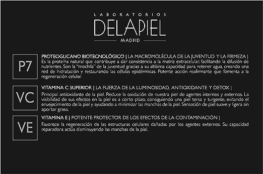 Delapiel Serum Facial - Conexión 7% de proteoglicanos encapsulados complementado con 7% de Vitamina C - 15 Ampollas
