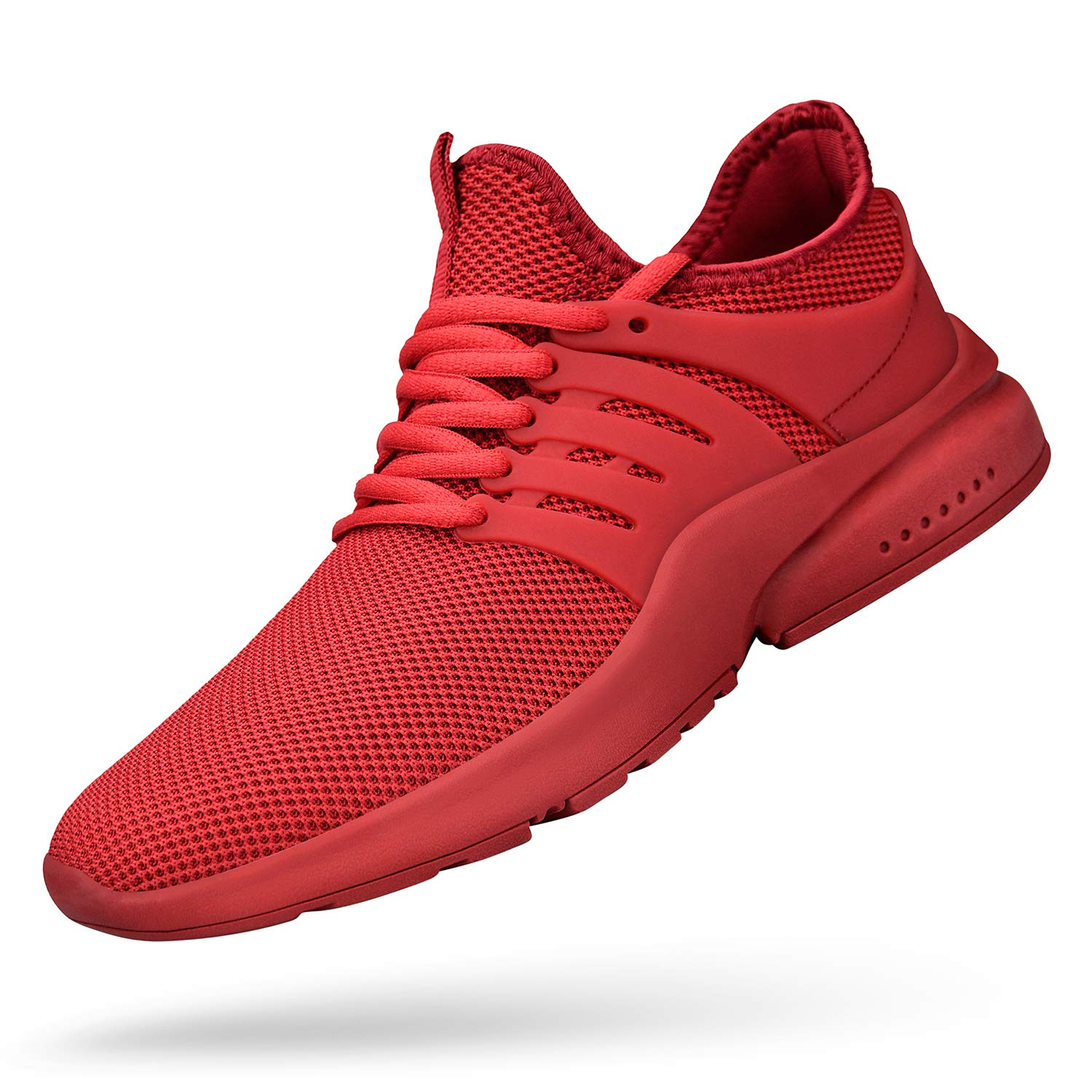 Feetmat Mens Walking Outdoor Lightweight Breathable Shoes Red Running Shoes for Boys Gym Athletics Tennis Sneakers Red 12M by Feetmat