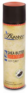 Savannah Hair Therapy Leave In Cream-Glaze Just Curly Treatment - Shea Butter, Cotton and Silk Protein and Vitamin B6 - For Dry, Damaged and Curly Hair. Sodium Chloride and Sulfate Free. 8.45 oz