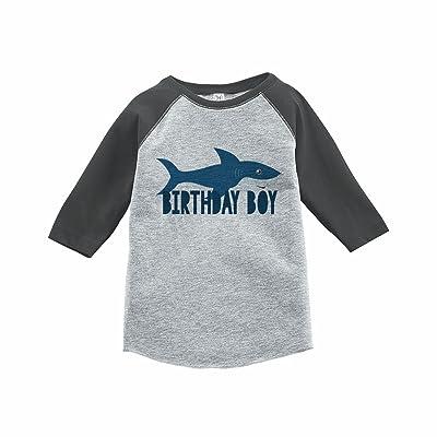 7 ate 9 Apparel Boy's Shark Birthday Grey Raglan Tee