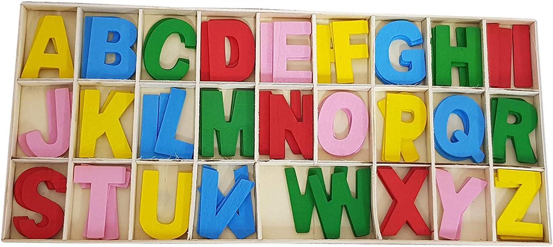 Produziert Box mit 78 Buchstaben MAIUSCOLE Bunte Holzspiele DIDATTICAL DECOUPAGE Schule Dekorationen bunt