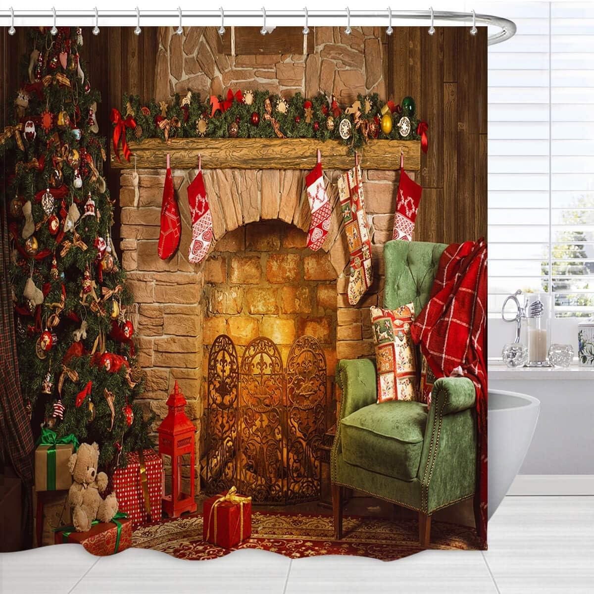 BROSHAN Christmas Bathroom Shower Curtain, Merry Christmas Tree Fireplace Stocking Gift Art Print Holiday Bath Curtain, Christmas Fabric Bathroom Decor Set with Hooks,72 x 72 Inch