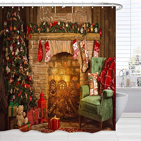 Amazon Com Christmas Shower Curtain Extra Long Xmas Fireplacetree Decoration Print Holiday Bath Curtain Christmas Fabric Bathroom Accessories Set With Hooks Kitchen Dining