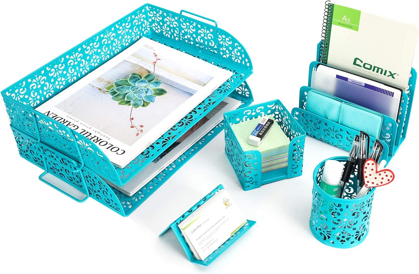 EasyPAG 5 in 1 Desk Organizer Set - 2 Tier Stackable Desk Tray,Mail Sorter, Pencil Holder,Business Card Holder and Stick Note Holder,Dark Teal