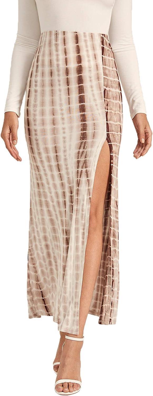Verdusa Womens Solid Color High Waist Side Split Maxi Skirt
