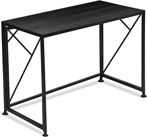 Folding Computer Office Writing Desk No-Assembly Sturdy Steel Construction Super High Bearing Capacity Large Workspace Black 39″