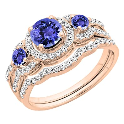 954efdd23e01d0 Amazon.com: Dazzlingrock Collection 14K Gold Round Tanzanite & White Diamond  Ladies 3 Stone Bridal Engagement Ring Set: Jewelry