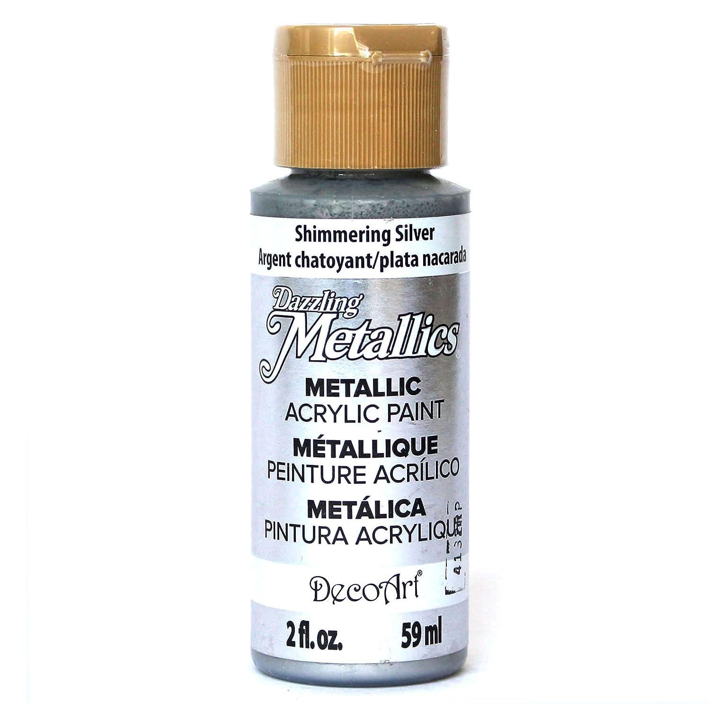 DecoArt Americana Acrylic Metallic Paint, Shimmering Silver DM-DA070