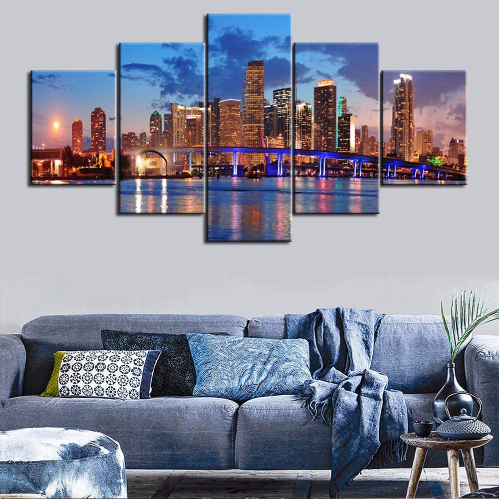 """Large 5 Piece Canvas Wall Art for Living Room- Miami City Skyline Panorama at Dusk with Urban Skyscrapers and Bridge Over Sea - Modern Home Decor Stretched and Framed Ready to Hang - 60"""" W x 32"""" H"""