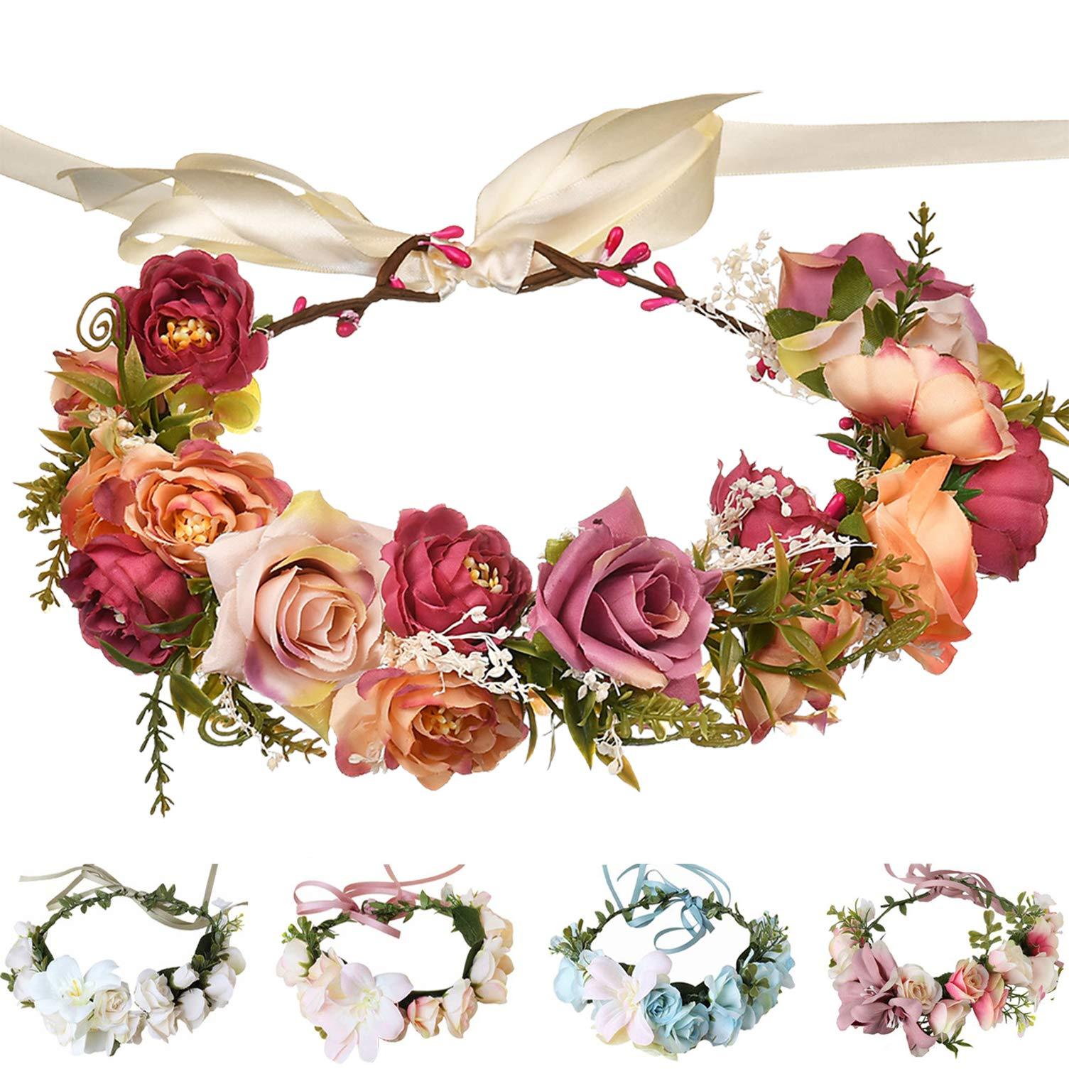Handmade Adjustable Flower Wreath Headband Halo Floral Crown Garland Headpiece Wedding Festival Party (M-(Pink))