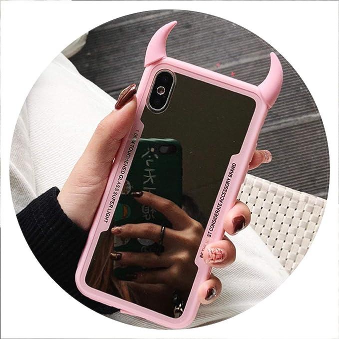 Custodia a specchio per iPhone 7, 6, 6S, 5, 8 Plus, con corno da ...
