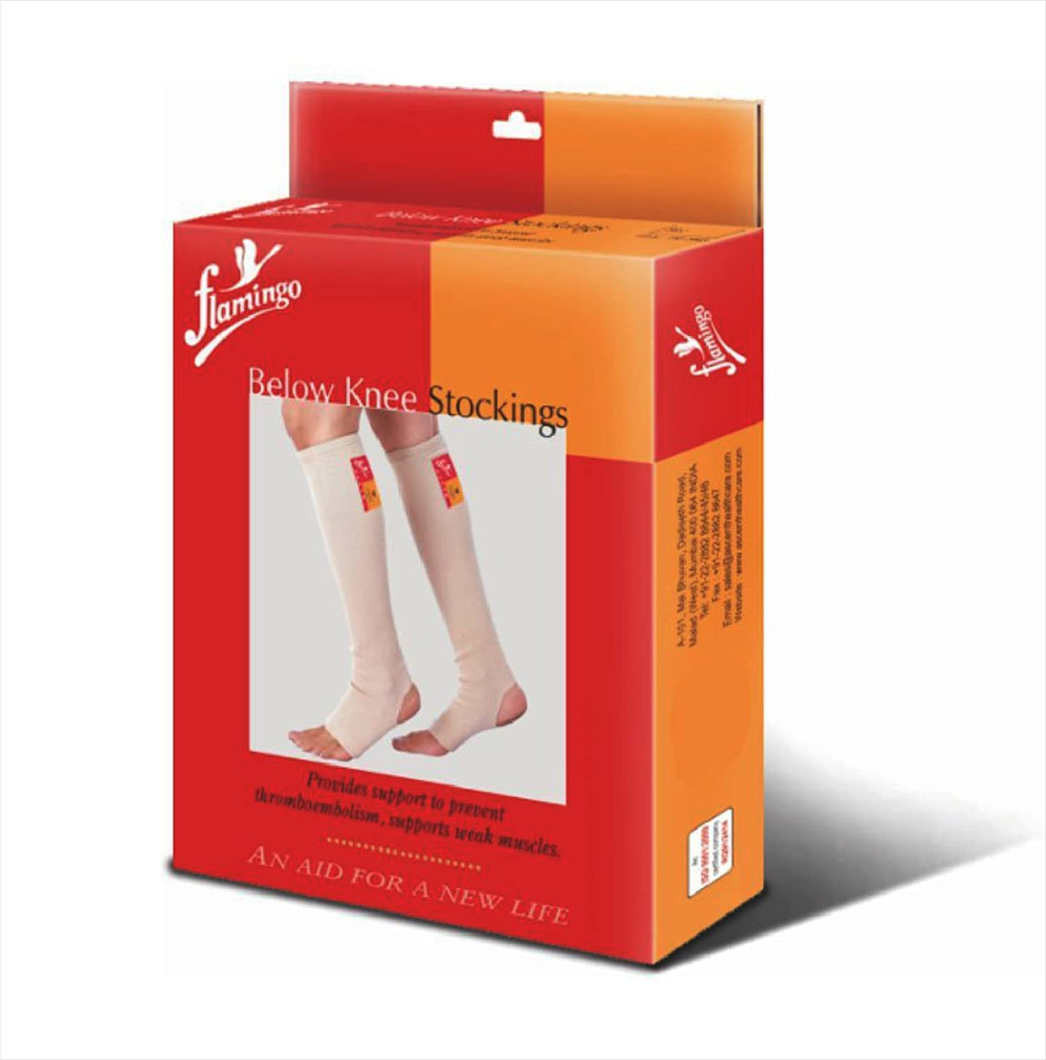 5ad6e16d1ec Buy Flamingo Compression Stocking Below Knee - Leg Socks To Reduce Pain    Swelling (Pack Of 1) Online at Low Prices in India - Amazon.in