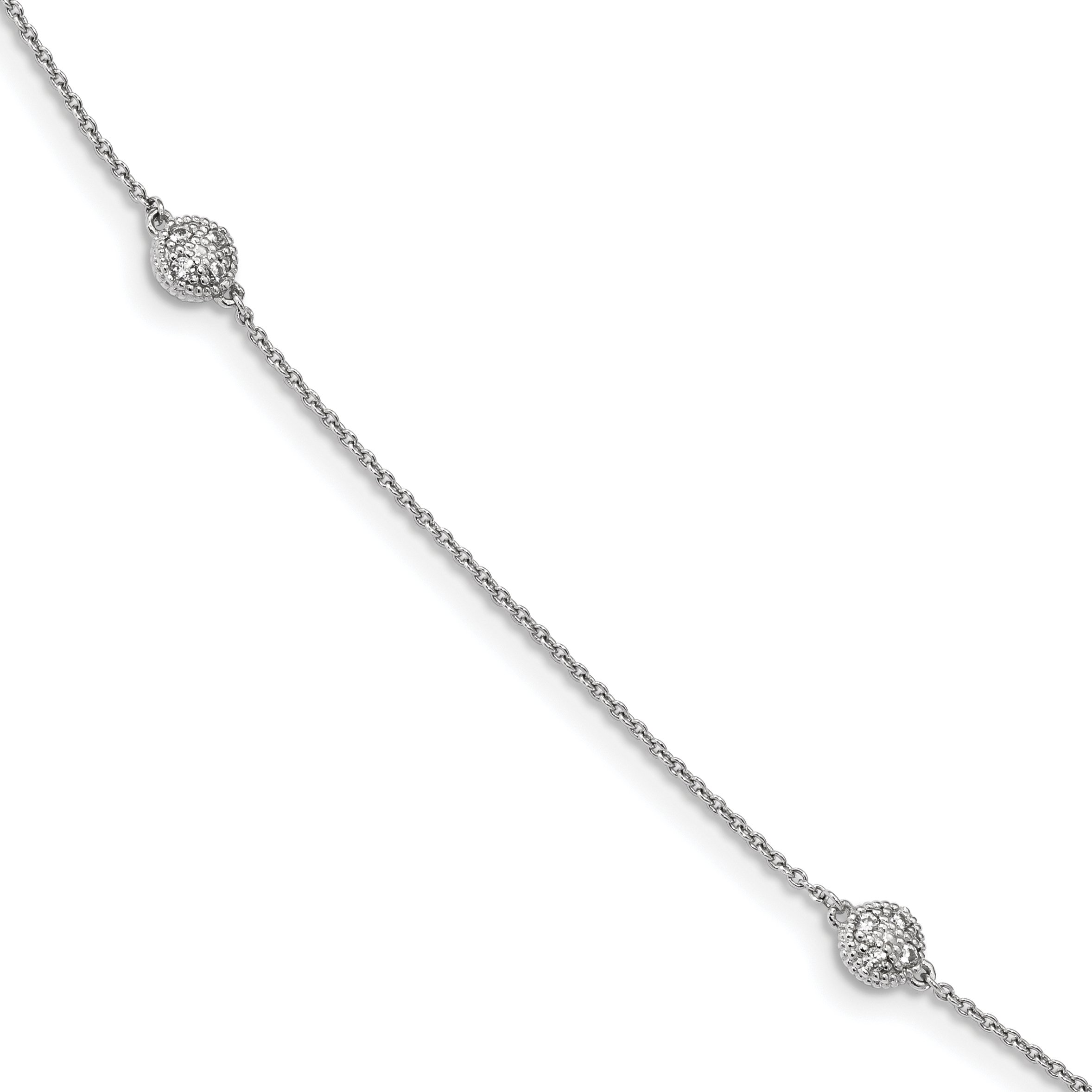 ICE CARATS 925 Sterling Silver Cubic Zirconia Cz Micro 14 Station Chain Necklace Bead Fine Jewelry Gift Set For Women Heart
