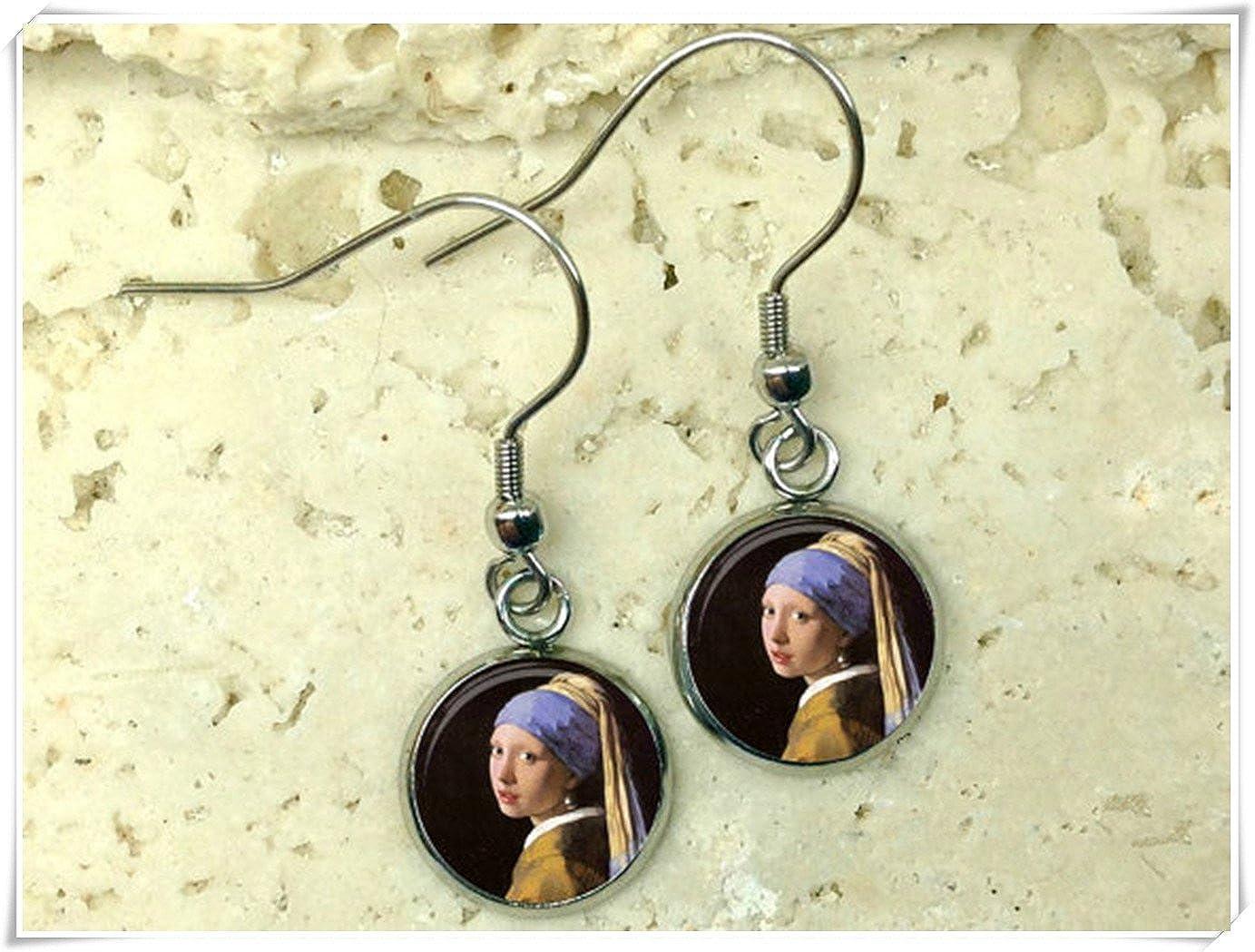 Elf House - Pendientes de perlas para niña, diseño de Vermeer, hechos a mano
