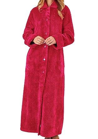 Slenderella Womens Waffle Fleece Button Up Dressing Gown Ladies Super Soft  Bath Robe XL (Raspberry)  Amazon.co.uk  Clothing cb819deb3