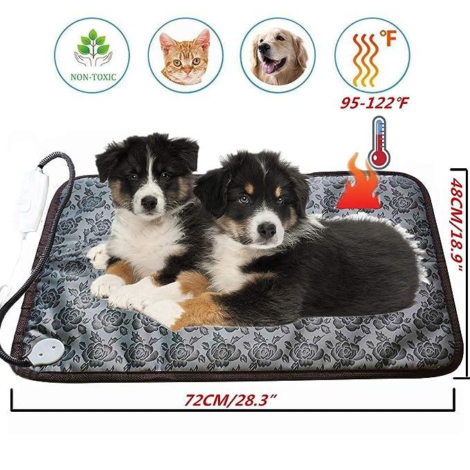 Ubei - Alfombrilla de calefacción eléctrica para Perro y Gato, Ajustable, Resistente al Agua, Cuerda de Acero antimordeduras, para Mascotas, Mantas y caseta ...