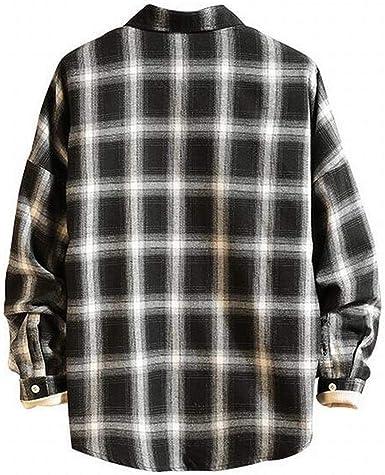 Jotebriyo Mens Loose Plaid Print Plus Size Long Sleeve Big and Tall Dress Checkered Shirt
