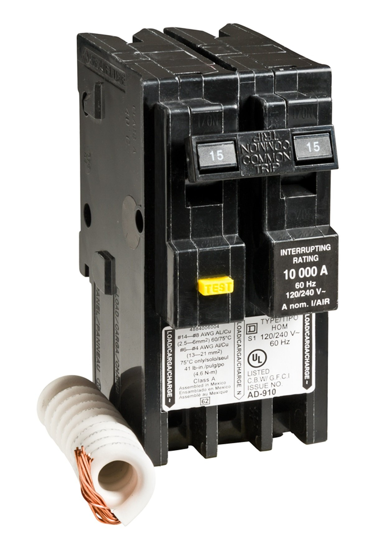 Square D by Schneider Electric HOM215GFI Homeline 15 Amp two-pole GFCI circuit breaker by Square D by Schneider Electric