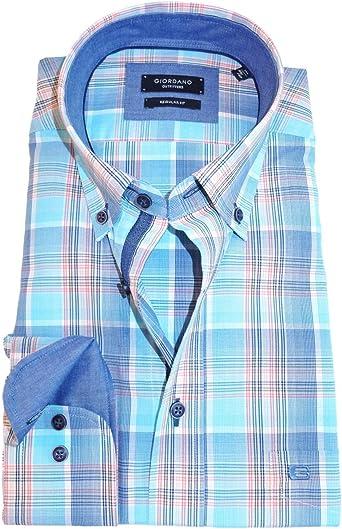Giordano - Camisa de manga larga de corte regular a cuadros ...