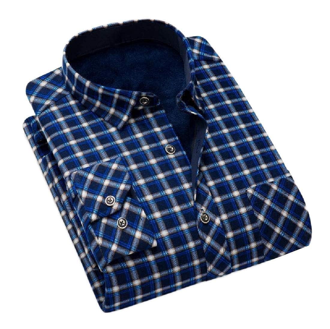 Comaba Men Thicken Plus Velvet Grid Tops Office Work Button-Down-Shirts