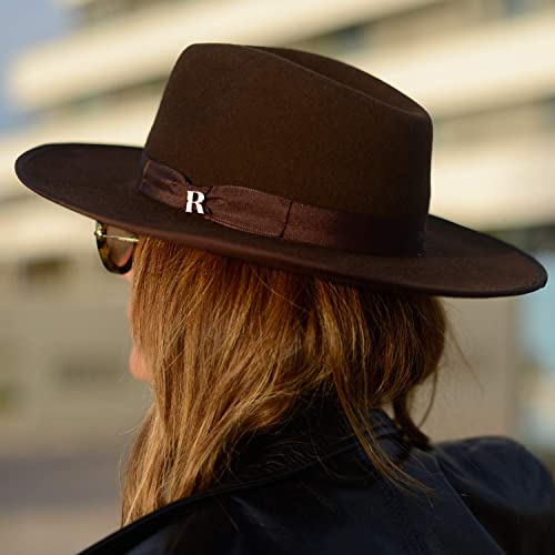 fc8fa787c2cbd9 Image Unavailable. Image not available for. Color: RACEU ATELIER Brown Nuba  Hat - Wide Brim Fedora Hat - 100% Wool Felt -