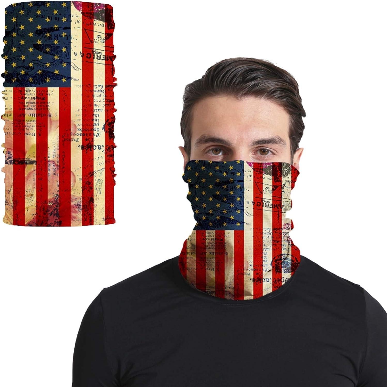 Triv US Flag Seamless Balaclava Half Face Mask Neck Gaiter for Men and Women