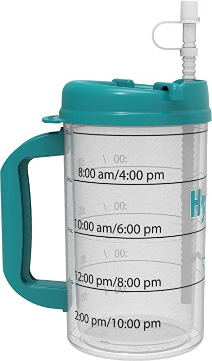 5cc88dd263 Amazon.com: Hydr-8 Water Bottle - Time Marked Air Insulated 32 Ounce Mug:  Sports Water Bottles: Kitchen & Dining