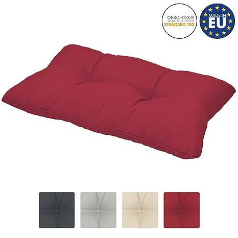 Beautissu Cojines para Muebles de jardín XLuna Lounge sillas de Mimbre de Exterior Respaldo Grueso Acolchado Aprox. 50x40x12 cm Rojo