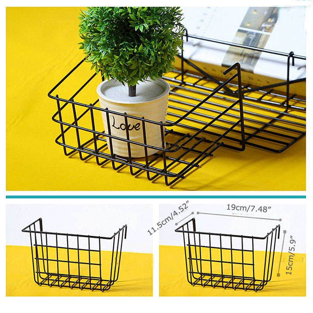Amazon.com: Black Wire Hanging Basket Grid Panel Wall Mountable ...