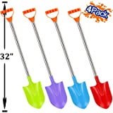 Liberty Imports 32-Inch Heavy Duty Stainless Steel Kids Beach Diggers Sand Scoop Shovels with Plastic Spade and Handle for Summer Outdoors Party Bundle - 4 Pack (Diggers)
