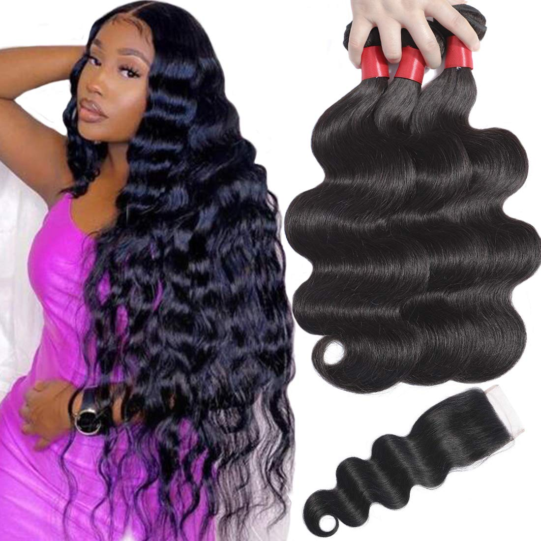 Misoun Human Hair Body Wave Bundles with OFFicial store Brazil 4x4 Lace Closure Max 83% OFF