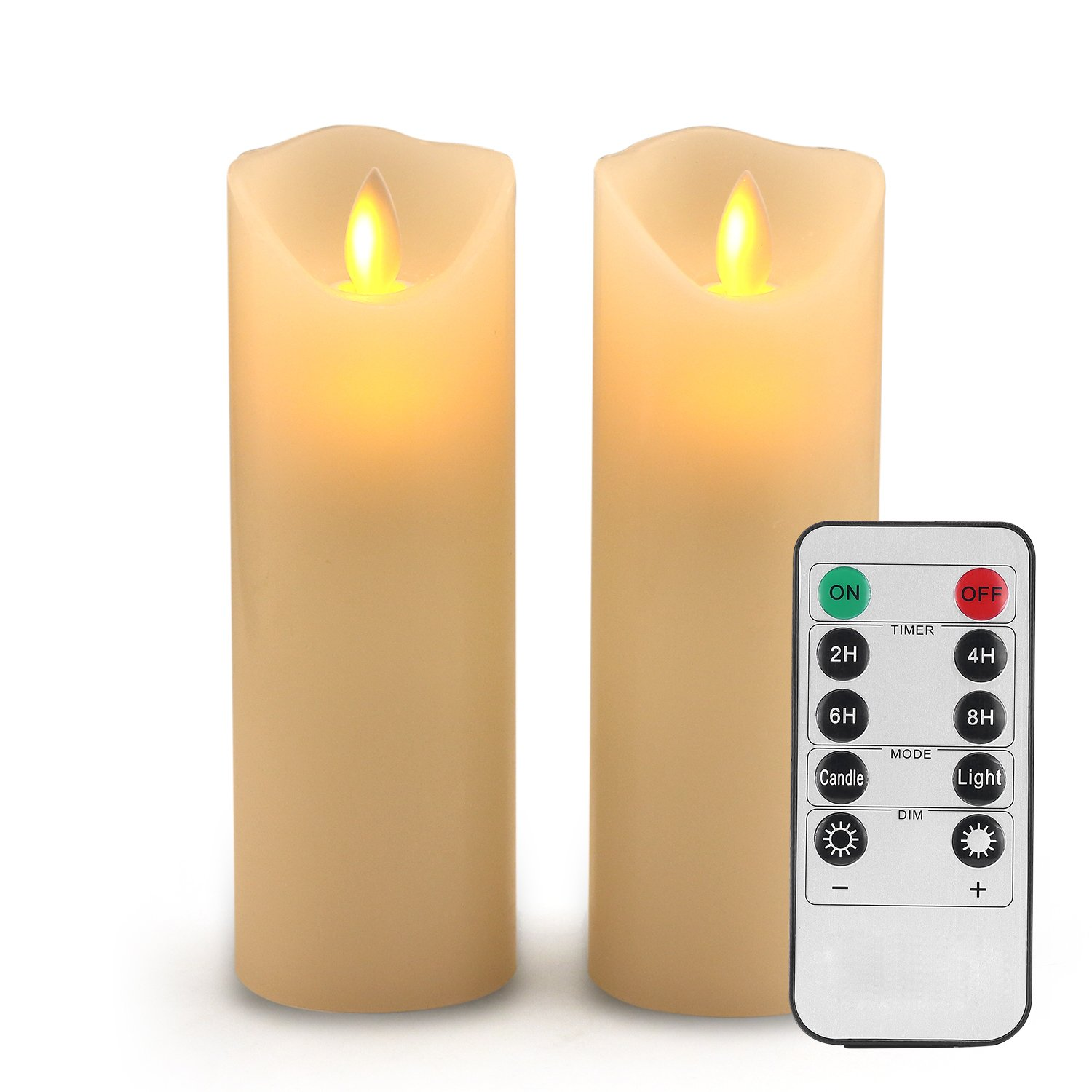 Flameless Candles Led Candles Set of 9(H 4'' 5'' 6'' 7'' 8'' 9'' xD 2.2'') Ivory Real Wax Battery Candles with Remote Timer by (Batteries not Included) … (Ivory, Set of 2)