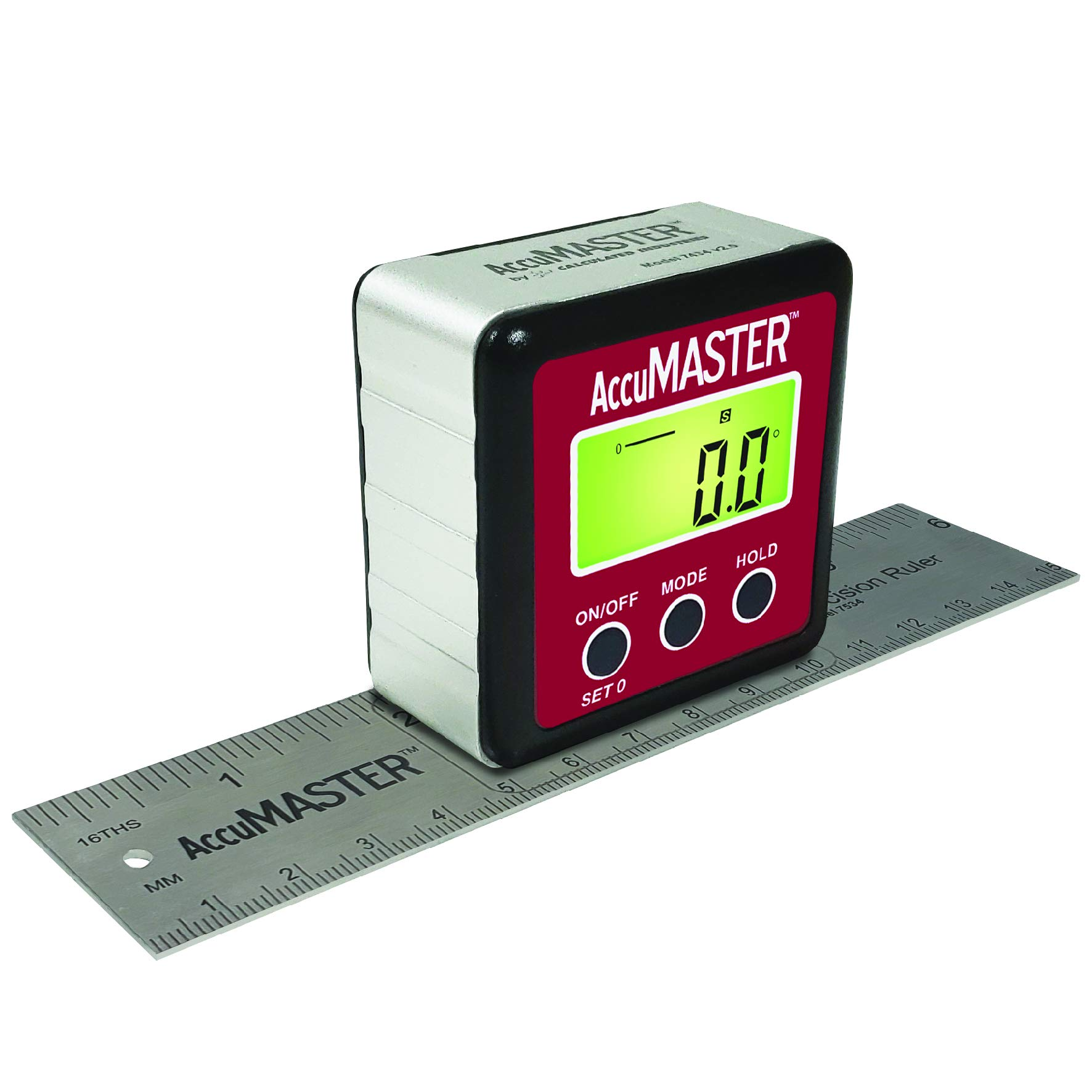 Calculated Industries 7534 AccuMASTER 2-in-1 Magnetic Digital Level and Angle Finder   Inclinometer   Bevel Gauge, Latest MEMs Technology, IP54 Dust and Water Resistant   Bonus 6'' Precision Ruler