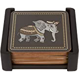 Planet Ethnic Asian Elephant Designer Wooden MDF Cork Coaster Set (6 coasters, each almost 4 X 4 inches) with matching wooden coaster holder