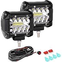 "LTPAG 2pcs Focos LED Tractor, 4"" 120W 12000LM Faros Trabajo LED 12V-24V Barra LED IP68 Impermeable Luz de Niebla con…"