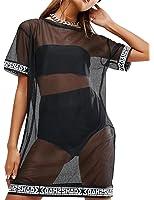 WuLun Women's Sexy Short Sleeve Patchwork See Through Gauze Mesh T-Shirt Dress